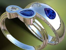 infinity wedding rings. birthstone engagement ring with diamond and blue sappire in 14k white gold infinity wedding rings