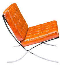 modern chair ottoman mies lounge chair and ott burnt orange leather stainless ste accent with steel legs chairs alan decor gold furniture genuine club