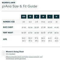 Swimsuit Top Size Chart Prana Womens Moorea Tankini Swim Top