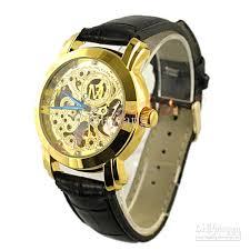 mens black leather gold skeleton hand wind mechanical watch dress shipping mens black leather gold skeleton hand wind mechanical watch dress for men