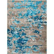 vogue taupe turquoise 3 ft x 5 ft indoor area rug