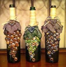 How To Decorate A Bottle Of Wine Wine bottles decorated with glass marble grapes glued to the 1