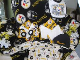pittsburgh steelers baby gift basket blanket burping cloth two one pieces washcloths diaper wipe cover