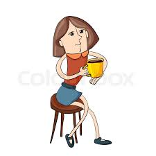 modern ilration of a sitting on a chair drinking coffee cartoon style stock vector colourbox