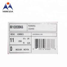 Private Printing Custom Shoe Size Chart Barcode Adhesive Sticker For Box Package