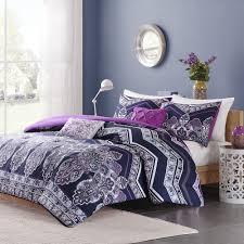 chic exotic tropical purple teal navy blue bohemian chevron comforter set