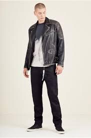 true religion jackets mens moto detailed leather jacket black