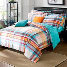 blue and orange bedding blue orange stripes grid pattern duvet cover sanding cotton mens