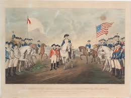 george washington astride white horse at center