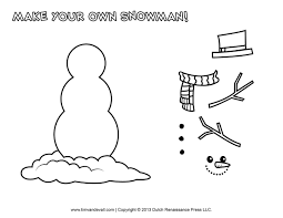 Free Snowman Clipart Template Printable Coloring