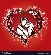 cute couple kisses in a blossom heart vector image