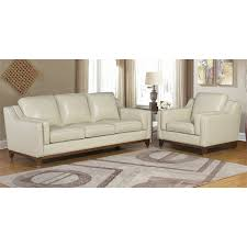abbyson clayton 2 piece top grain leather sofa set in cream