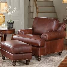 leather chair ottoman with nailhead trim