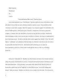 transcendentalism connection essay transcendentalism individualism