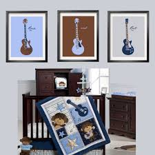 guitar prints in baby blue brown navy and silver 3 pc set 5x7 looks great with carter s monkey rockstar bedding by yassisplace com