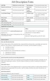 Example Job Description Template Form Sample Microsoft Word