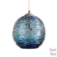 spun glass pendant light steel blue