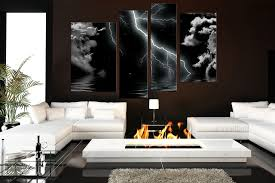 piece multi panel art thunderstorm canvas wall modern huge living room prints black artwork paintings abstract