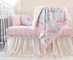 blush and blue fl crib set