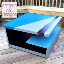 modern coffee table design in gf blue milk paints and java gel stain general finishes design center