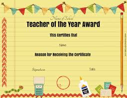 teacher awards printable certificates for teachers