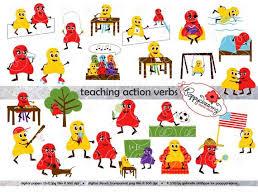 Action Verbs Enchanting Teaching Action Verbs Clipart Digital Flashcards Digital Etsy