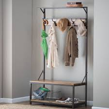 wall tree furniture. wood metal entryway hall tree coat rack stand home furniture decor storage bench in u0026 garden household supplies cleaning organization wall
