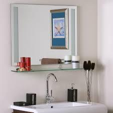Bathroom Frameless Mirrors Frameless Bathroom Mirror With Shelf In Frameless Mirrors