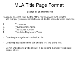 Cover Page For Mla
