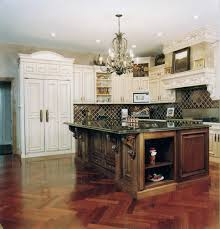 ... Dark Wood Kitchen Island Storage And Old White Polished Kitchen  Cabinets As Well As Chevron Wood Floors In Luxurious French Country Kitchens  Designs