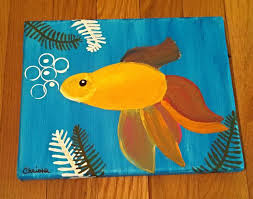 goldfish painting size 8x10 canvas small original acrylic painting on canvas bright and colorful