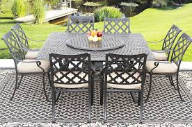 camino real cast aluminum outdoor patio 9pc set 8 dining chairs 64 inch square table series 5000 35 lazy susan with sunbrella sesame linen cushion