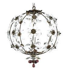 great lovely french vintage bronze crystal flower pendant light fixture main flowers brass chandelier jean fray