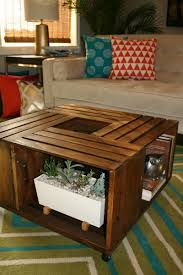 ... Beautiful Brown Sqaure Indsutrial Wood Wine Crate Coffee Table With  Storage Ideas As
