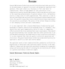 Nice General Maintenance Technician Resume Example In Paragraph