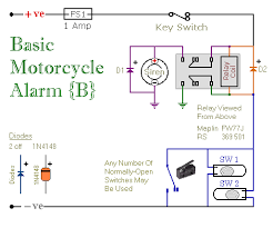 two simple relay based motorbike alarms relay alarm no 6 schematic diagram