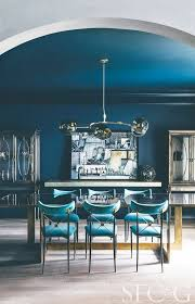 blue velvet dining room chairs this designer s stunning home is a lesson in color of