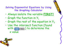 solving exponential equations by using the graphing calculator