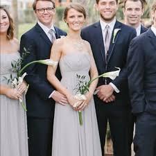 Taupe Strapless Bridesmaid Dress Floor Length