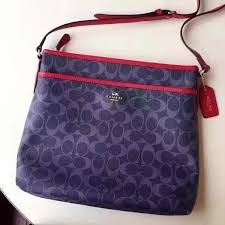 Authentic Coach Crossbody Signature Blue Bag  Red Outline