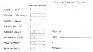 Customer Comment Card Under Fontanacountryinn Com