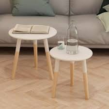 round wooden coffee side tables lamp phone stand scandinavian table set white for