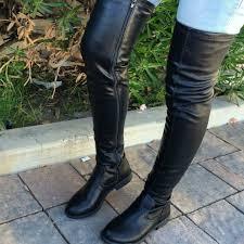 black thigh high round toe boot
