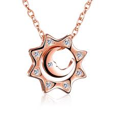 details about women s 925 sterling silver cz zirconia sun moon pendant necklace rose gold