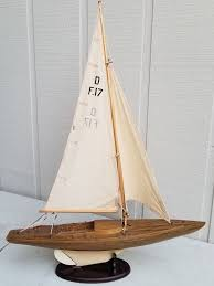 vintage large sailboat yacht wooden model ship pond boat nautical with regard to decor plan 13
