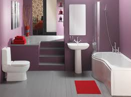 stunning purple simple bathroom designs with white furnitures including bathtub and toilet seat completed with pedestal