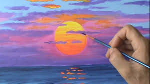 how to paint a red sun at sunset using acrylic paint on canvas painting lesson you