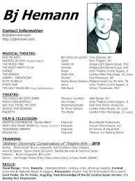 Actors Cv Template Download Theatre Resume Best Music Sample Actor