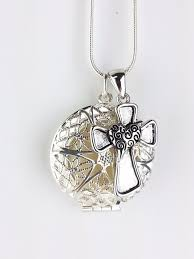 sterling silver plated diffuser necklace cross aromatherapy locket essential oils silver