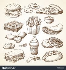 set with fast food ilration sketch vector ilration fast food